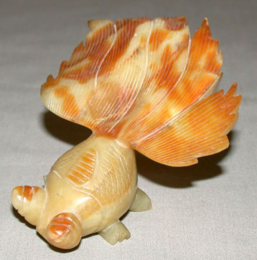 Antique chinese green hand carved soapstone jadeite koi for Koi fish figurines