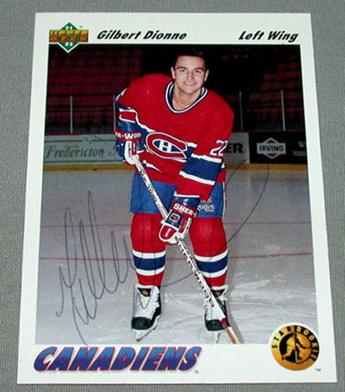 91-92 Upper Deck Gilbert Dionne Canadiens Signed NHL